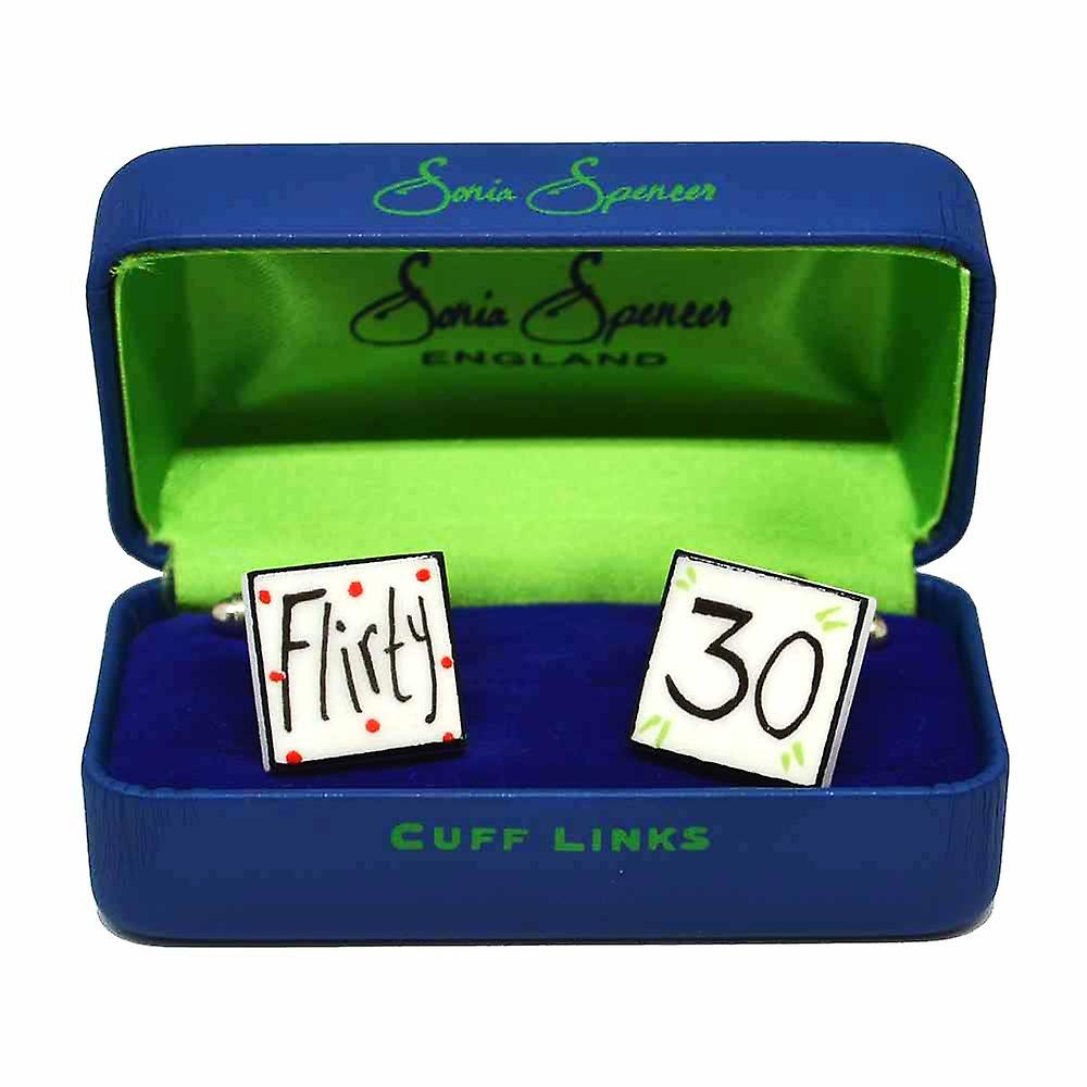Flirty 30 Cufflinks by Sonia Spencer, in Presentation Gift Box. Hand painted