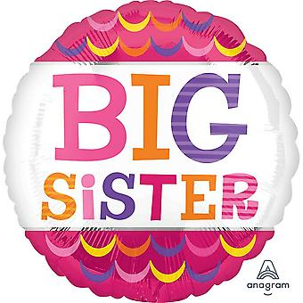Anagram 18 Inch Big Sister Scallops Circle Foil Balloon