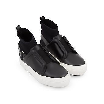 Pierre Hardy women's high top sneakers black leather