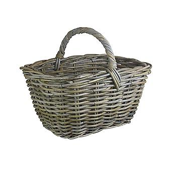 Grey Rattan Kindling Basket