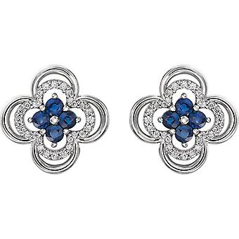 .70CT алмаз & синий сапфир клевер шпильки серьги 14K Белое золото