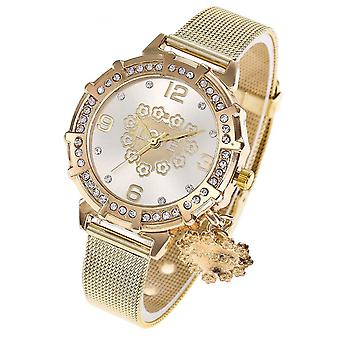 Smart Gold Love Watch Luxury White Face Stones Mesh