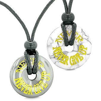 Amuletten nooit Never Give Up beste vrienden of liefde paren gelukkige Donuts hematiet howliet kettingen