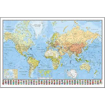 Weltkarte Poster Die Welt  deutschsprachig, aktueller Stand! 61 x 91,5 cm