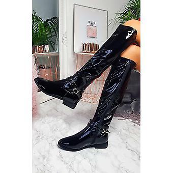 IKRUSH Womens Aubrey Patent Knee High Stripe Boots