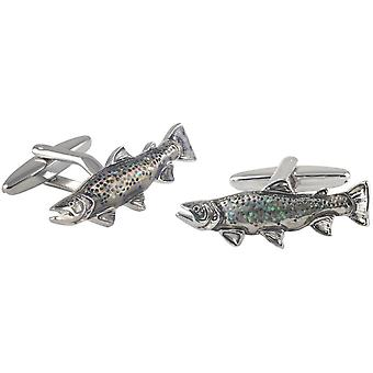David Van Hagen Glitter poisson Cufflinks - Silver