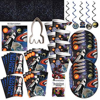 Space space astronauts party set XL 64-teilig 8 guests space party birthday party package