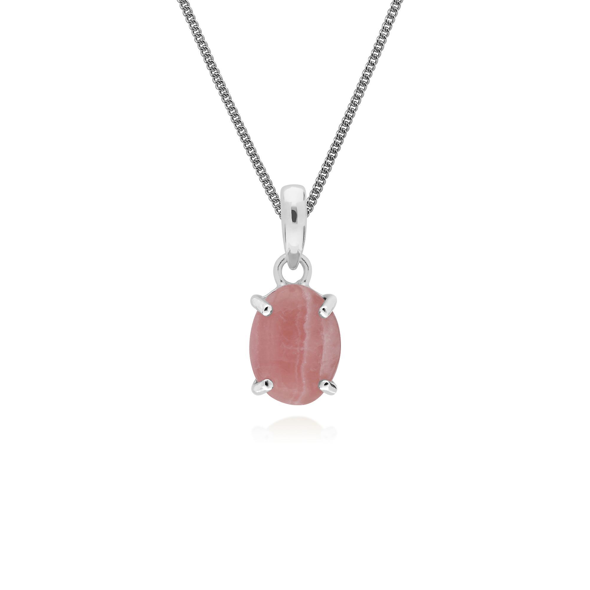 Gemondo Sterling Silver Rhodochrosite Single Stone Oval 45cm Necklace