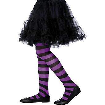 Tights Purple and Black, Medium/Large Age 8-12