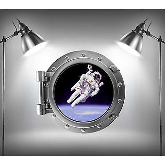 Full Colour Astronaut Porthole V2 Wall Sticker