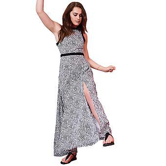 Lovemystyle Grey Animal Print Maxi Dress with Black Waistband