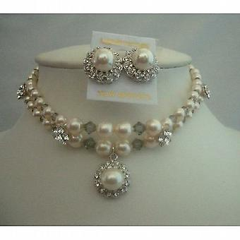 Krem Swarovski perły Komplet Naszyjnik Biżuteria Handcrafted Podwójny wał strunowy