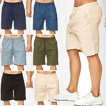 Men's Shorts Loose Fit Bermuda Pants Short Summer Trousers Casual Cotton Mix