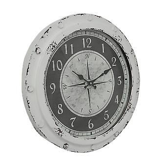 风化白色金属圆指南针玫瑰 18 英寸挂钟