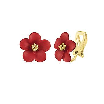 Eternal Collection Anemone Red Enamel Gold Tone Stud Clip On Earrings