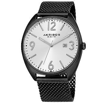 Akribos XXIV hommes AK1026 quartz date Sunray cadran argent maille bracelet montre AK1026BK