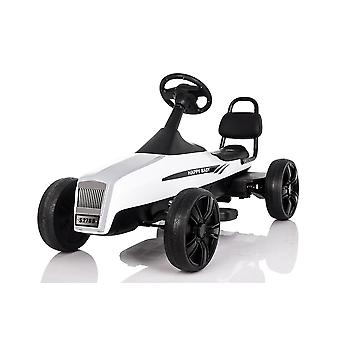 RideonToys4u Large Outdoor Pedal Go Kart With Manual Brake Lever White Ages 5-12