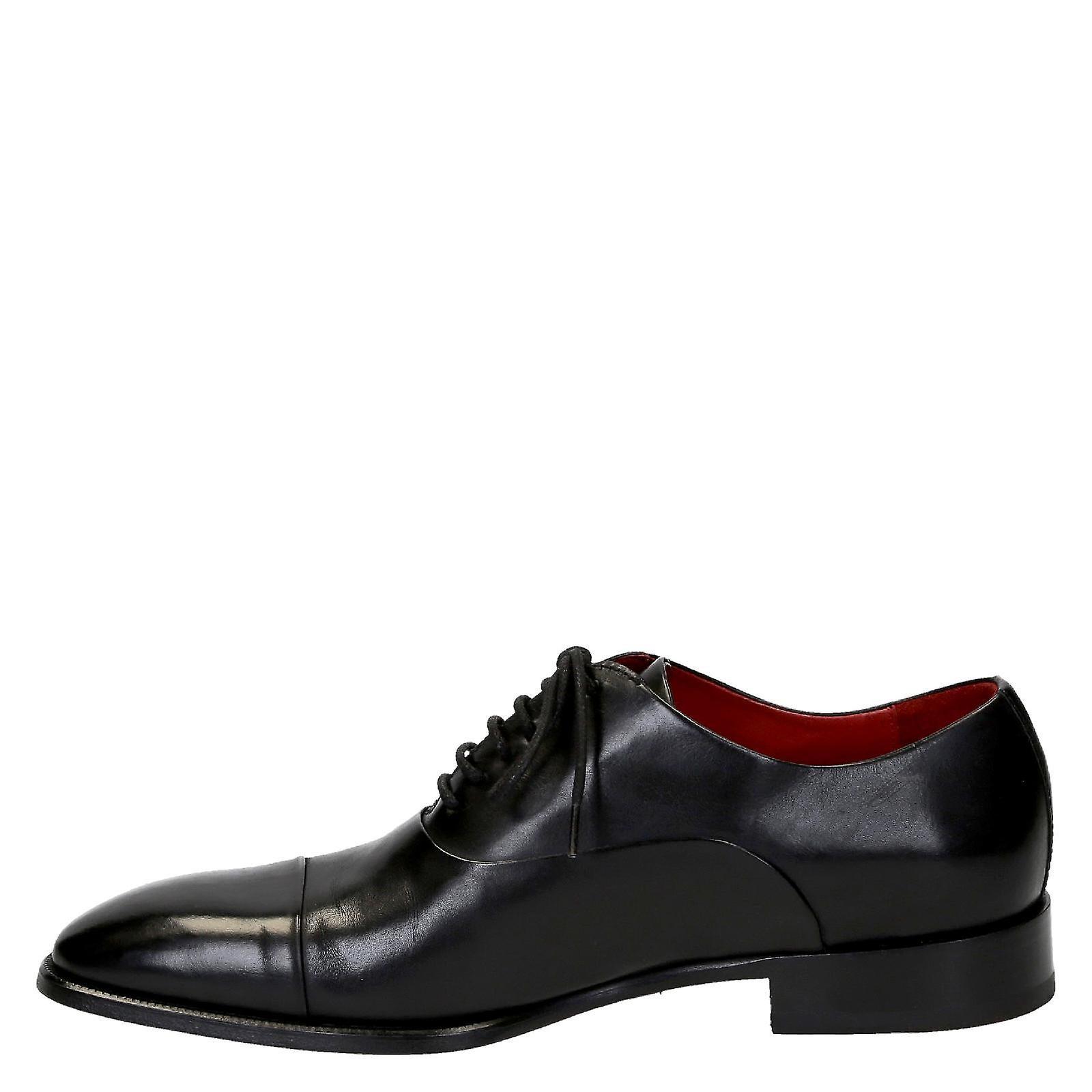 Chaussures Leonardo Sngblackleat3 Chaussures à lacets en cuir noir
