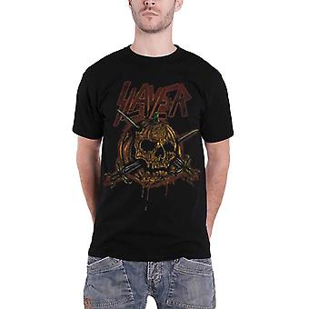 Slayer Mens T Shirt Black Skull Pumpkin Knives band logo Official
