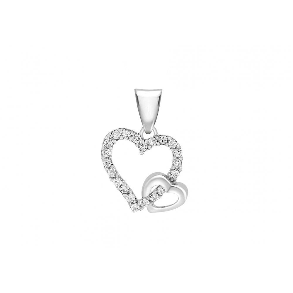 Eternity 9ct White Gold Cubic Zirconia Set Double Heart Pendant And 18'' Curb Chain