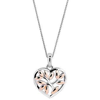 Orphelia 925 sølv vedhæng med kæde hvid/rose Heart