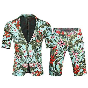 Allthemen Mens Printed Short Sleeve Suit zweiteilig (Kurzarm + Shorts)