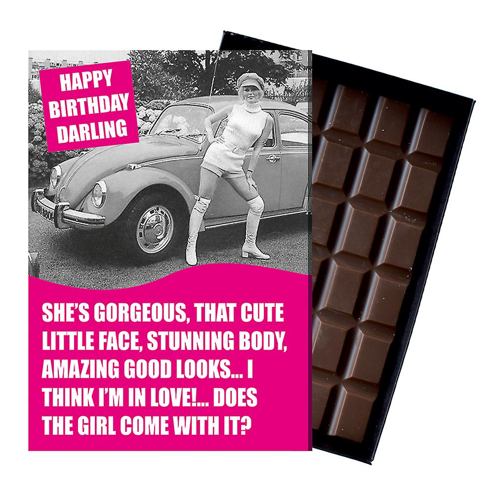 Funny Birthday Gift for Volkeswagen VW Beetle Owner Classic Car Chocolate Greeting Card CDL228