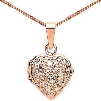 Jewelco London Rose Gold-Plated Sterling Silver Heart Floral Detail Locket Necklace 18 inch