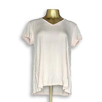 H by Halston Women ' s top Essentials V-Neck tee pink A306231