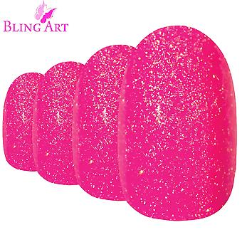 False nails by bling art pink gel oval medium fake acrylic 24 tips with glue