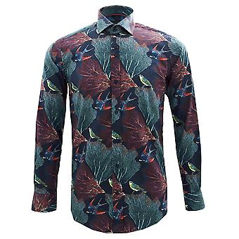 Guide London Autumn Birds On Leaves Print Pure Cotton Long Sleeve Mens Shirt