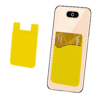Silicone Credit / Debit Card Pouch For Doogee Hotwind DG200 Device Wallet Holder Stick On Adhesive (Yellow)