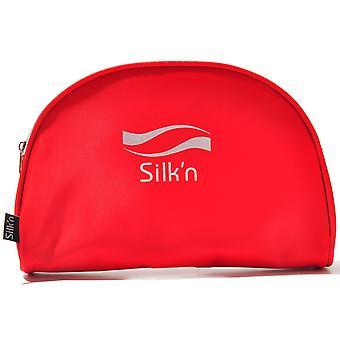 Silk'n Top Zip Half Circle Clutch Bright Red Handbag Womens C404186