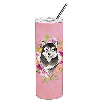 Alaskan Malamute Pink Flowers Double Walled Stainless Steel 20 oz Skinny Tumbler