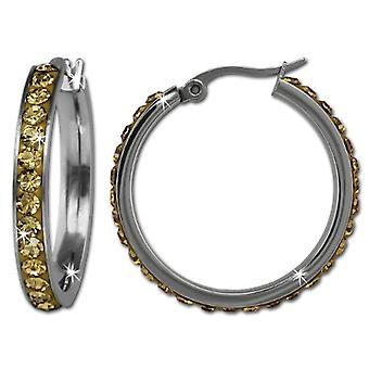 Adamello dreambase -Swarovski stainless steel hoop earrings-yellow crystal VESOS04Y