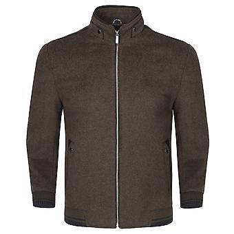 Allthemen Men's Solid Stand Collar Autumn Wool Blend Overcoat
