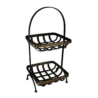 Tin Frame 2-Tier Rustic Woven Wicker Basket Stand