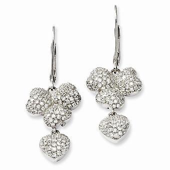 925 plata esterlina Rhodium plateado y CZ Cubic Zirconia simulado diamante brillante ascuas Leverback pendientes joyería G