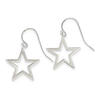925 Sterling Silver Open Shepherd koukku kiillotettu Star Pitkä Drop Dangle korvakorut korut lahjat naisille