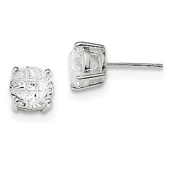 925 Sterling Silver Laser-cut Post Earrings Basket setting 8mm Round Basket Set Cubic Zirconia Stud Earrings