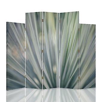 Divisor de habitación decorativa, 5 paneles, doble cara, 360o de lona giratoria, abstracción altísima 2