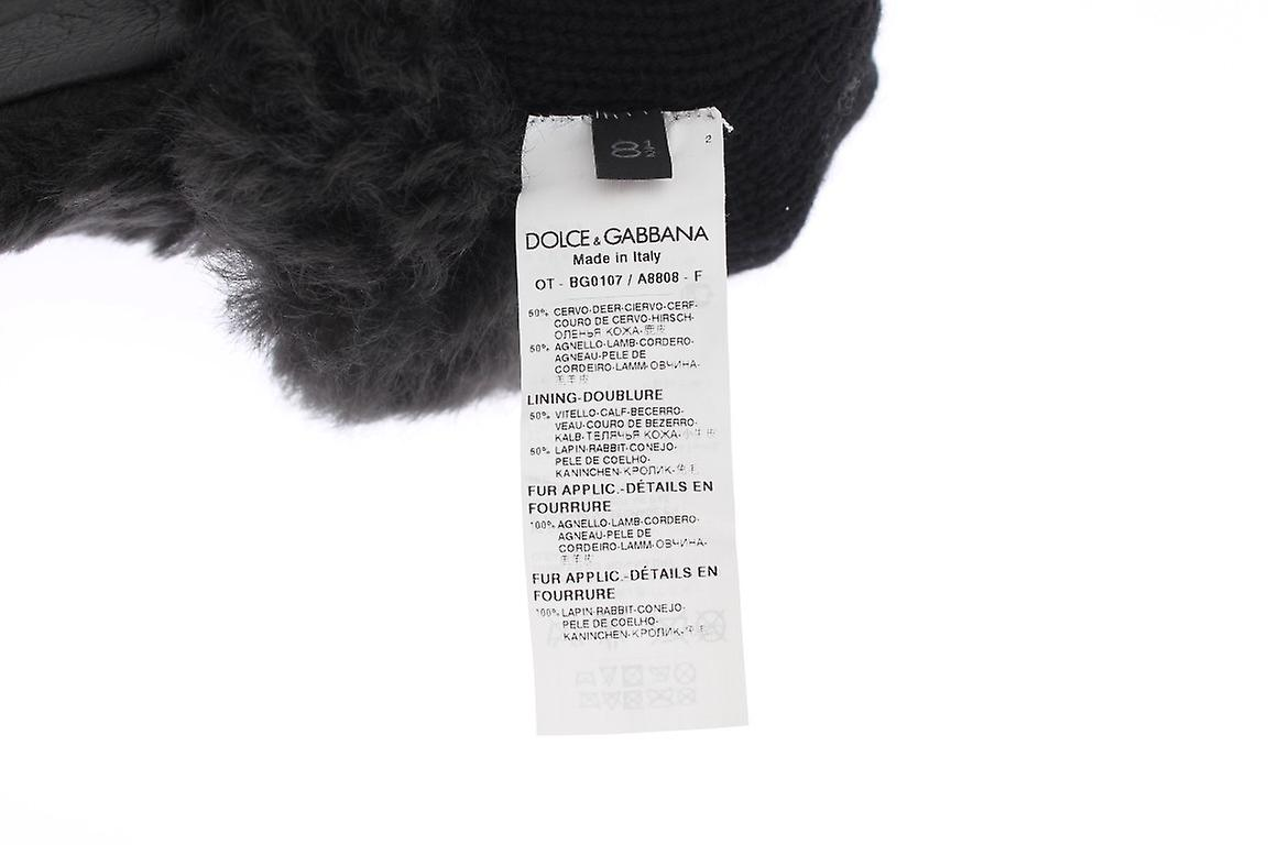 Gray Leather Shearling Fur Gloves