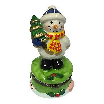 Jolly Winter Snowman Holding Christmas Tree Hinged Trinket Box