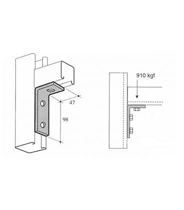 M10 3 Hole Angle Plate (1346) For Channels T304 Stainless Steel (as Unistrut / Oglaend)