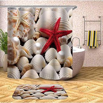 Red Starfish And Shells Shower Curtain