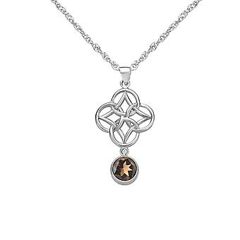 "Celtic Eternity Knotwork Necklace Pendant - A Real Smoky Quartz Gemstone - Includes A 20"" Silver Chain"