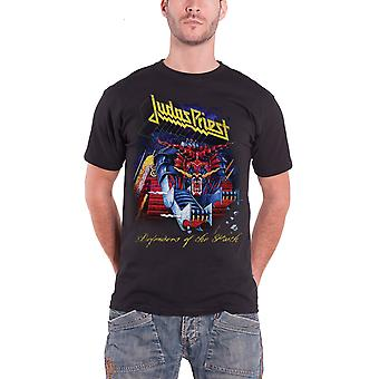 Judas Priest T Shirt Defenders of Faith Distressed Logo Official Mens New Black