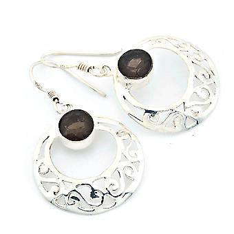 Ohrringe Ohrhänger Silber 925 Sterlingsilber Rauchquarz grau (KLE-OH-128)