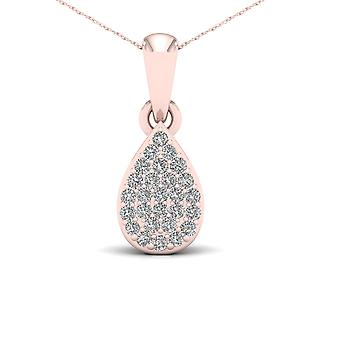 Igi certified 10k rose gold 0.1ct tdw diamonddrop shape cluster pendant necklace