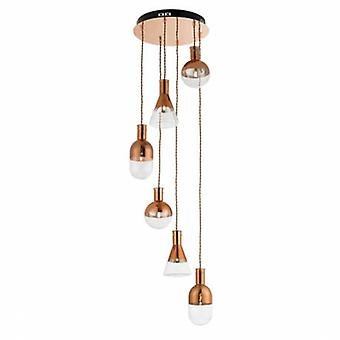 6 Light Spiral Cluster Pendant Copper Plated, Clear Glass